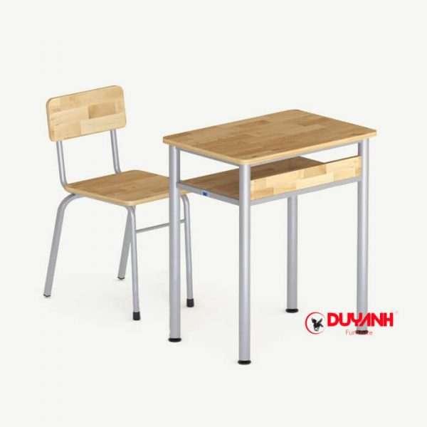 Bộ bàn ghế đơn học sinh gỗ cao su tự nhiên