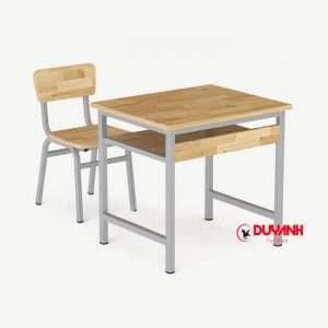 Bộ bàn ghế học sinh đơn gỗ cao su tự nhiên