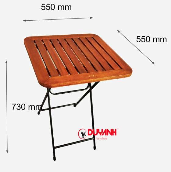 Kích thước bàn cafe gấp fansipan patio