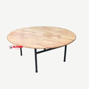 Bàn tròn 1m6 gỗ cao su tự nhiên ghép thanh