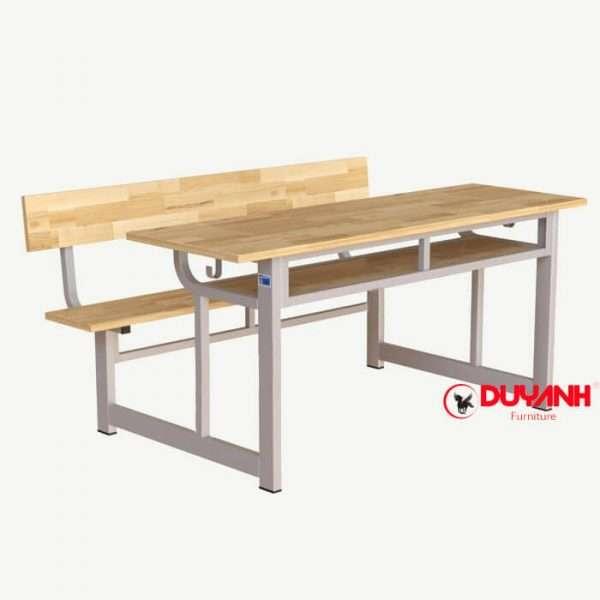 Bàn ghế đôi học sinh liền ghế gỗ cao su tự nhiên