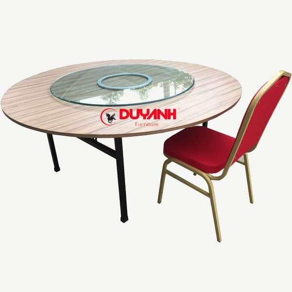 bàn tròn 1m6 gỗ công nghiệp